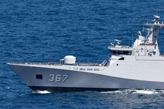 SIGMA-Klasse Korvette KRI Iskandar Muda 367, die der indonesischen nationalen Armee-Marine in Sydney Harbor geh?rt stockbild