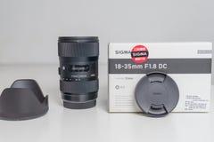 Sigma 18-35 1 8 lens dichte omhooggaand royalty-vrije stock afbeeldingen