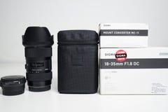 Sigma 18-35 1 8 lens dichte omhooggaand royalty-vrije stock fotografie