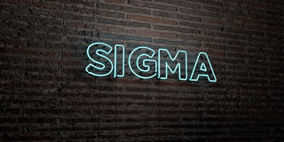 SIGMA -Realistic Neon Sign on Brick Wall background - 3D rendered royalty free stock image. Can be used for online banner ads and direct mailers Stock Photo