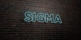 SIGMA - realistiskt neontecken på bakgrund för tegelstenvägg - 3D framförd fri materielbild för royalty stock illustrationer