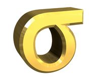 Sigma symbol in gold (3d). 3d made greek letter aphabet Royalty Free Stock Photo