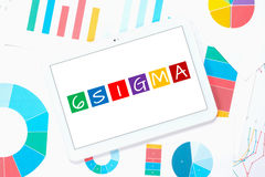 6 sigma on tablet pc Stock Image