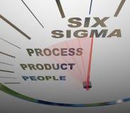 Sigma zes - het Verzenden van de Snelheidsmeter aan Certificatie Royalty-vrije Stock Foto's