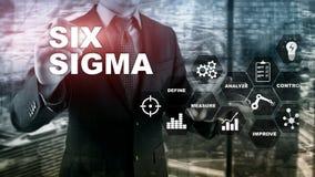 Sigma zes, productie, kwaliteitscontrole en industrieel proces die concept verbeteren Zaken, Internet en tehcnology stock fotografie