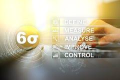 Sigma zes - reeks technieken en hulpmiddelen voor het procesverbetering royalty-vrije stock afbeelding