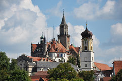 Sigmaringen Castle and Parish Church. Look of castle and parish church in Sigmaringen, Upper Swabia, Baden-Wuerttemberg, Germany Royalty Free Stock Image