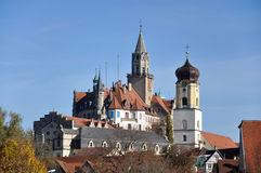 Sigmaringen Castle and Parish Church. Sigmaringen Castle and Church on a sunny autumn, Germany Royalty Free Stock Image
