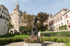 Sigmaringen - Germany. Sigmaringen, Germany - October 2, 2013: View of the Karl Anton Square in Sigmaringen and the statue of Prince Karl Anton of Hohenzollern Stock Photography