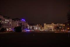 Sigmund Freud Park i Wien på natten Royaltyfri Bild