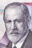 Sigmund Freud stående från österrikiska pengar Royaltyfria Bilder