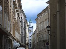 Sigmund Haffner Grasse (street) in Salzburg, Austria Stock Photo