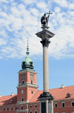 Sigmunds Spalte und königliches Schloss in Wrasaw Stockfotos