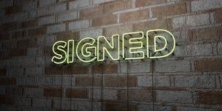 SIGNÉ - Enseigne au néon rougeoyant sur le mur de maçonnerie - 3D a rendu l'illustration courante gratuite de redevance Images libres de droits