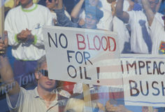 Sign �No blood for oil� at peace rally,  Los Angeles, California Stock Photo