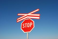 Sign 06. Traffic sign over blue sky Stock Photo