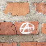 Sign. The brick wall and sign Anarchy Stock Photography