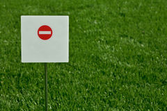 Sign. No entry, sign with green grass in the background Royalty Free Stock Images