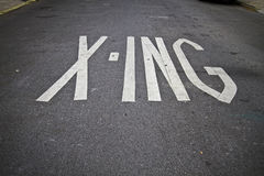 Sign. X-sing sign on the street road royalty free stock photo