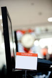 Sign. Blanked sign inside a clothing store Royalty Free Stock Photo