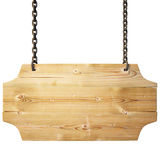 Sign. Wooden sign on the chains. with clipping path Royalty Free Stock Photos