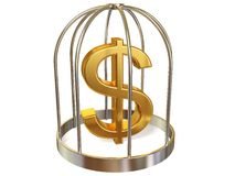 Sign. Dollar sign in cage on white Stock Image