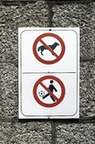 Sign. No dogs and no child play with ball warning sign Stock Image