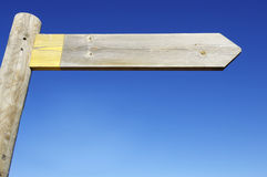 Sign. View a wooden directional sign on a pole Stock Images