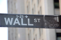 Sign. Black and white sign of Wall Street in New York Royalty Free Stock Photography