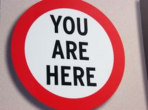 Sign. You are here sign in New York Royalty Free Stock Photo