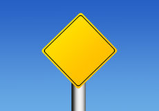 Sign. Yellow road sign over sky background with space in blank for insert text or design. Illustration Royalty Free Stock Photos