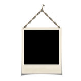Sign. Photo hanging on a chain isolated on a white background Stock Photo