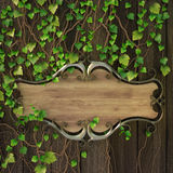 Sign. Wooden sign on the wall covered with ivy Royalty Free Stock Images