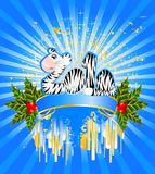 Sign 2010 years. Is a beautiful little tiger in a christmas frame Stock Photo