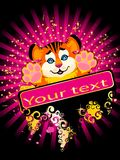 Sign 2010 years is a beautiful little tiger. On a bright abstract background royalty free illustration