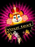 Sign 2010 years is a beautiful little tiger. In a crown on a bright abstract background Royalty Free Stock Photos