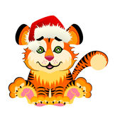 Sign 2010 years is a beautiful little tiger. In a red cap on background Stock Images