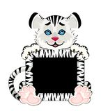 Sign 2010 years is a beautiful little tiger. On background Royalty Free Illustration