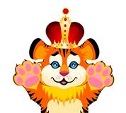 Sign 2010 years is a beautiful little tiger in a c. Rown on a white background Royalty Free Stock Photography