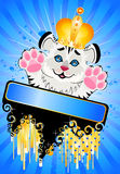 Sign 2010 years is a beautiful little tiger in a c. Rown on a bright abstract background stock illustration