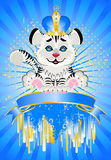 Sign 2010 years is a beautiful little tiger in a c. Rown on a bright abstract background Royalty Free Illustration