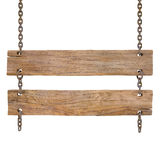 Sign. Blank wooden sign hanging on a chain. isolated on white. with clipping path Royalty Free Stock Photo