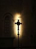 Sign. Contrast in Church, crux shadow Royalty Free Stock Photo