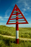 Sign. A sign for shipping in the green dunes on the German Island Sylt Stock Image