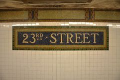 Sign of 23rd Street subway in Mosaic Tile, NYC. Sign of 23rd Street subway station in Mosaic Tile, Lower Manhattan, New York City, USA royalty free stock images
