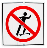 Sign. No skateboard allowed sign on road Royalty Free Stock Images