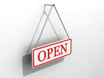 Sign. Very beautiful three-dimensional illustration. Sign open .3d Stock Photography