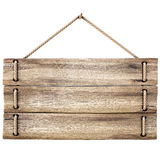 Sign. Blank wooden sign hanging on a rope. isolated on white Stock Photography