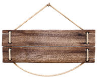 Sign. Blank wooden sign hanging on a rope. isolated on white Royalty Free Stock Photography