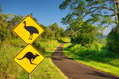 Sign. Kangaroo and Cassowary warning sign at a lonely country road in the Atherton Tablelands, Queensland, Australia stock images